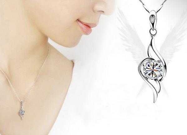 Brand New 925 Sterling Silver Angel Pendant Beautiful Occident Style Austrian Crystal White Gold Plated Charms Necklace Jewelry