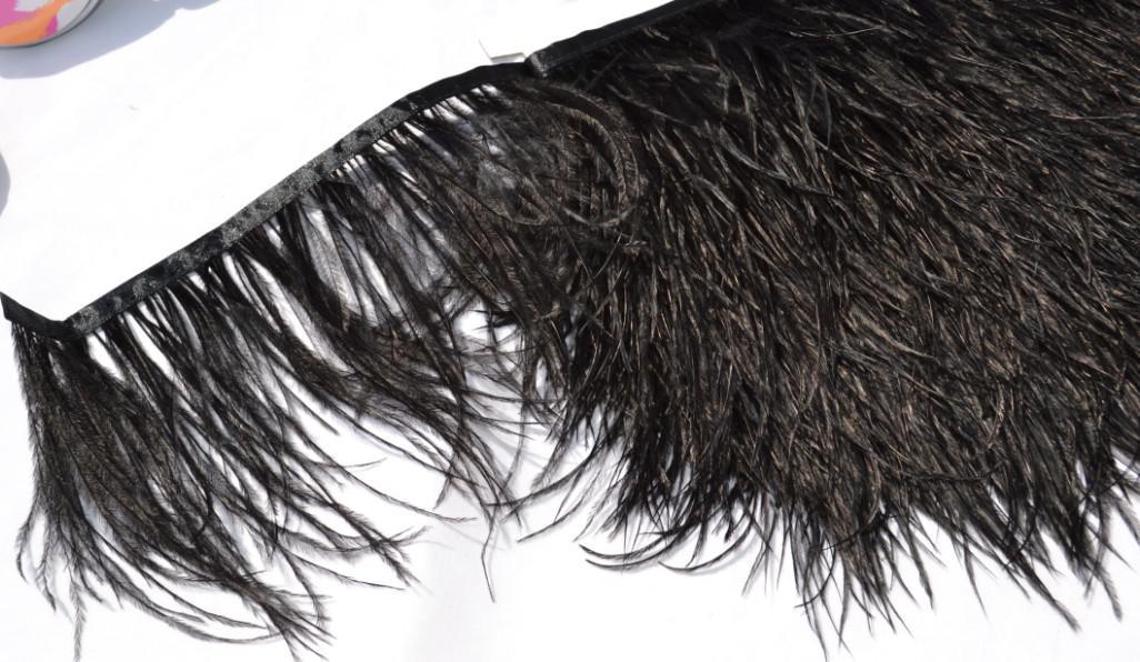 Envío gratis 10 yardas / lote pluma de avestruz franja recorte 5-6 pulgadas de ancho para la decoración del vestido traje decoración