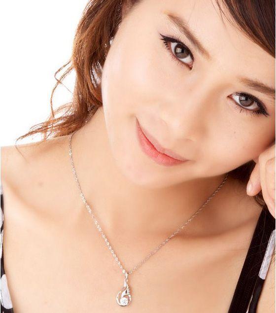 Schöne Anhänger Halskette Occident Style Love Wings Charms Amethyst Kristall Anhänger 925 Silber und Weißgold Überzogene Halskette Schmuck