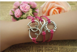 Wholesale China Wholesale Jewerly - Heart infinity bracelets braided bracelets in sliver charm bracelets jewerly on direction Free shipping E-packet and China post 20pcs lot