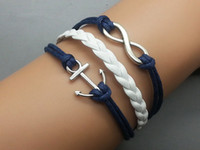 Wholesale E Packet - Anchor infinity bracelets braided bracelets in sliver charm bracelets jewerly on direction Free shipping E-packet 20pcs lot hy37