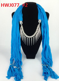 Wholesale Mixed Scarf Pendant Jewelry - Lady Scarf 2016 Jewelry Pendant Cone Necklace Pendant Scarves Fashion Scarf Mixed Design&Colors polyester 175x40cm 60pc lot