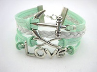 Wholesale One Direction Anchor Bracelet - infinity bracelets braided bracelets in sliver heart ,anchor , one direction charm bracelets green velvet cord jewerly hy39