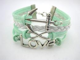 Wholesale bracelet directions - infinity bracelets braided bracelets in sliver heart ,anchor , one direction charm bracelets green velvet cord jewerly hy39