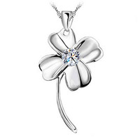 Wholesale Leaf Crystal Necklace - 18K White Gold Pendant Necklace GP Purple White Swarovski Amethyst Crystal Love Charms Four Leaf Clover 925 Silver Necklace Brand New