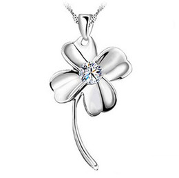 Wholesale Gps Pendant - 18K White Gold Pendant Necklace GP Purple White Swarovski Amethyst Crystal Love Charms Four Leaf Clover 925 Silver Necklace Brand New