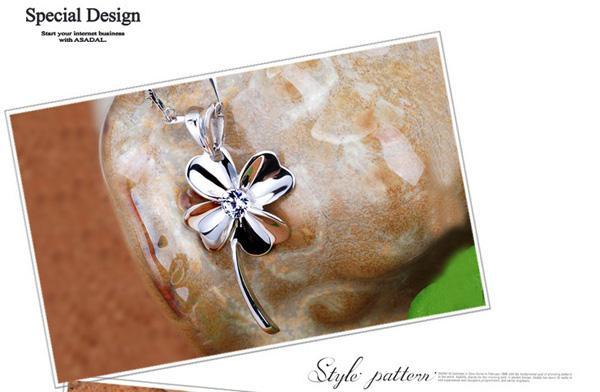 18K Weißgold Anhänger Halskette GP Lila / Weiß Amethyst Kristall Liebe Charms Vier Blatt Klee 925 Silber Halskette Marke Neue