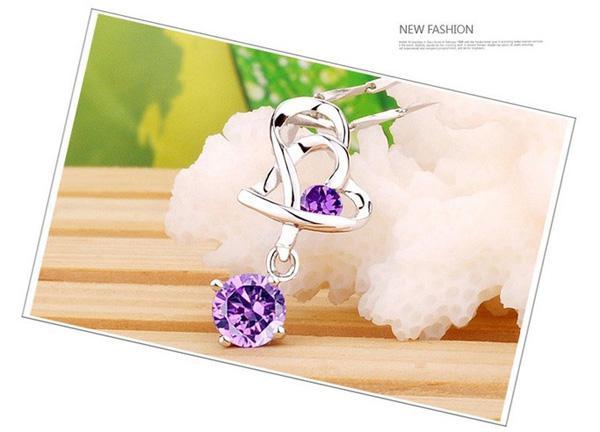 925 Collar colgante de plata esterlina Nueva llegada Charm Charm Crystal Heart Colgante Amatista Collar Joyería Mujer Belleza