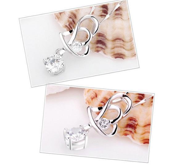 925 Sterling Silber Anhänger Halskette Neue Ankunft Liebe Charme Kristall Herz Anhänger Amethyst Halskette Schmuck Frauen Schönheit