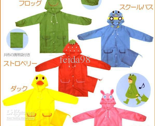 Vente en gros - Modèle de l'échantillon des enfants des modèles d'enfants Raincoat Kids Rain Coat Boy's Girls cape de pluie imperméable manteaux