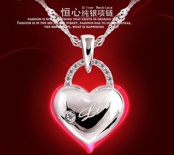Hot Style 925 Sterling Silver Necklace Love Charm Floating lockets Rhinestone Elements Crystal Pendant Necklaces Jewelry