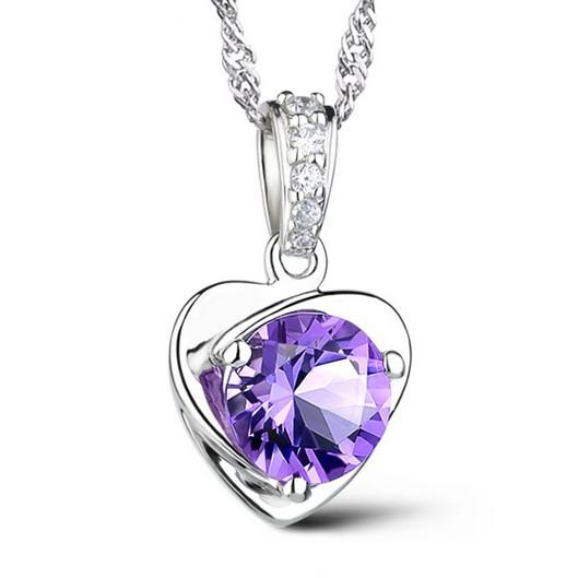 Chinese Occident Style 925 Sterling Silver Necklace Love Charm Floating Locket White/Purple Austrian Crystal Pendant Necklaces Freeshipping