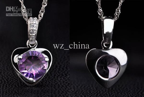 Collier en argent sterling de style Occident occidental 925, breloque d'amour, médaillon flottant, blanc / violet, pendentif en cristal autrichien, colliers, livraison gratuite
