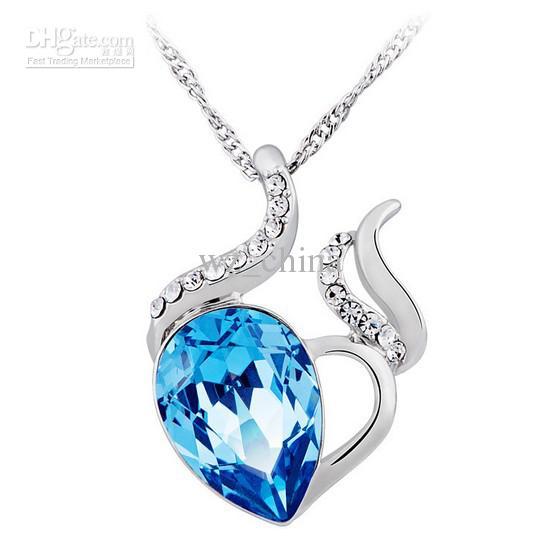 Chino Occidente Estilo 925 Collar de plata amor Charm Aquamarine Azul Azul Austrian CRYSTAL JOYERÍA RHINESTONE elementos