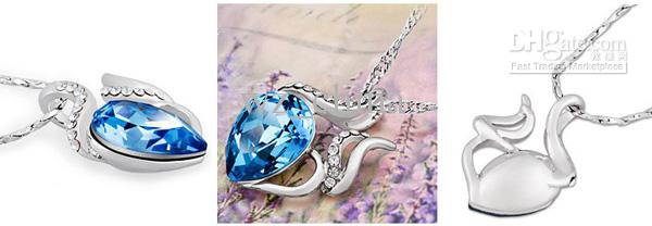 Chinese Occident Style 925 Silver Necklace Love Charm Aquamarine Blue Austrian Crystal Pendant Jewelry Rhinestone Elements