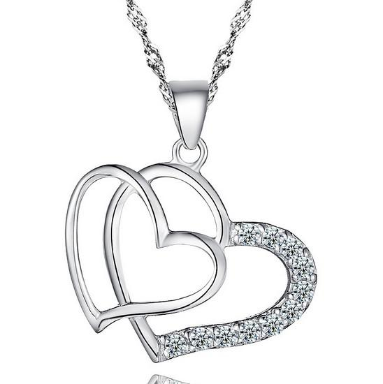 Hjärta Kvinnor Hängsmycke Halsband 925 Silver Kärlek Charm Överdriven Dubbel Halsband Kristall Hängsmycke Smycken För Dam Fashion