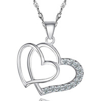 Wholesale Double Heart Crystal Necklace - Heart Women Pendant Necklace 925 Silver Love Charm Exaggerated Double Heart Necklace Crystal Pendant Jewelry For Ladies Fashion Freeshipping