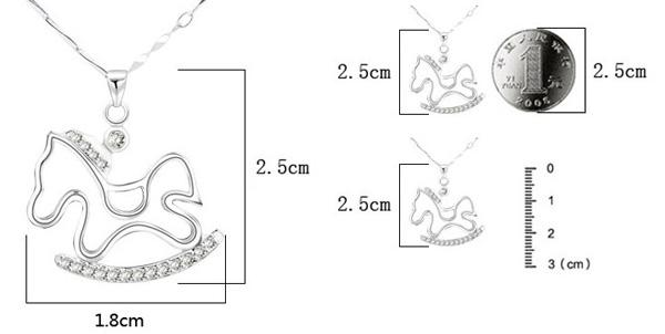 925 sterling silver hänge trojans halsband charms överdriven kristall häst hänge kvinnor bohemiska smycken mode ny