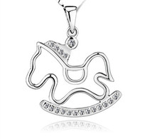 Wholesale Trojan Horse Necklace - 925 Sterling Silver Pendant Trojans Necklace Charms Exaggerated Crystal Horse Pendant Women Bohemian Jewelry Fashion New