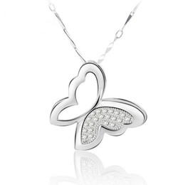 fashion crystal butterfly Promo Codes - 925 Sterling Silver Butterfly Pendant Necklace Charms Animal Fashion Bohemian Jewelry Exaggerated Crystal Pendant Jewelry For Women