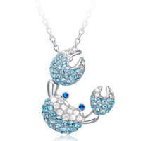 Wholesale Blue Sapphire Gold Necklace - 925 Sterling Silver Crab Pendant Necklace Sapphire Jewelry Charms Exaggerated Necklace Full Crystal Pendant LIght Blue Jewelry For Women F