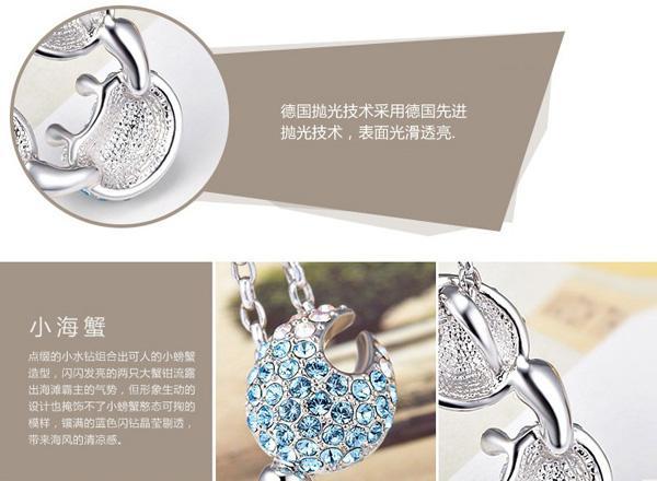 925 Cangrejo de plata esterlina Collar colgante de zafiro Joyas de joyas exageradas Collar de cristal completo Colgante Joyería azul de la luz para las mujeres F