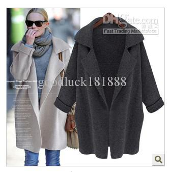 Autumn New Leisure Loose Trench Coats Knitting Cardigan Women Overcoat S-XL