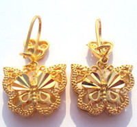 Wholesale Earrings Solid Gold Filled - Noble Pretty Womens 24k Yellow gold butterfly earring Artistic jewelry 100% real gold, not solid not money.
