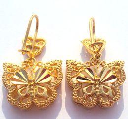 Canada Noble Pretty Womens 24k Boucle d'oreille papillon en or jaune Bijou artistique 100% vrai or, pas solide pas d'argent. Offre