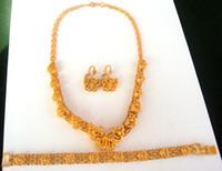 pulsera 24k al por mayor-NUEVO Las mujeres nobles 24k oro mariposa collar colgante pendiente pulsera establece el 100% de oro real, no sólido, no dinero.