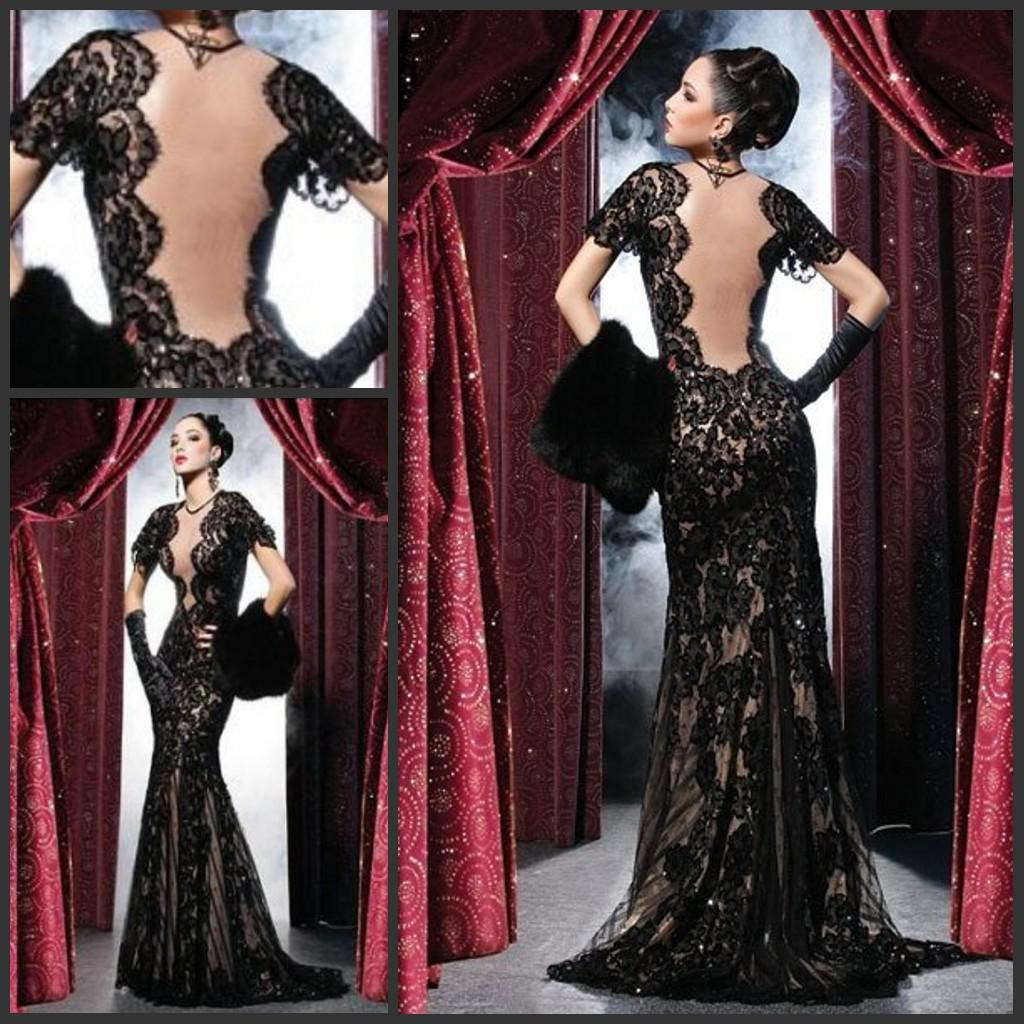Sexy Black Evening Dresses Backless Lace Prom Party Gowns Sheath Mermaid Sheer Crew Illusion Open Back Sweep Train Pageant Gowns Spring Fitted Prom