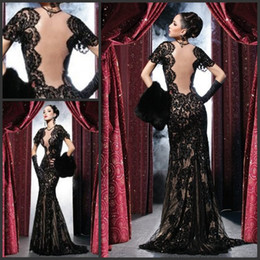 Wholesale Sheath Cap Pageant - Sexy Black Evening Dresses Backless Lace Prom Party Gowns Sheath Mermaid Sheer Crew Illusion Open Back Sweep Train Pageant Gowns 2015 Spring