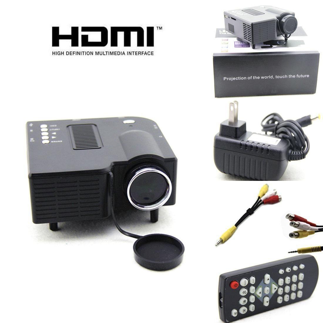 Black Uc28 Pro Hdmi Portable Mini Led Projector Home Cinema ...