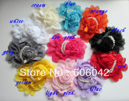"Wholesale Pearl Kids Hair - 2013 children fashion hair accessories 5"" x 4"" chiffon rose Flower With Pearl Beads,kids baby hair flower 11pcs lot"