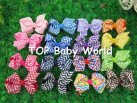 Wholesale Chevron Hair Bows Wholesale - 2013 New design chevron printed ribbon hair bows, Chevron boutique hair bow ,kids hair bows Girls' hair accessories 50pcs lot