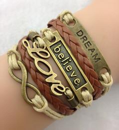 Armband leder ketten online-Neu eingetroffen Bronze Unendlichkeit Armbänder glauben, Liebe, Traum gewebt Leder Kette Wachs Seil Armband 100% ausgezeichnete Qualität hy47