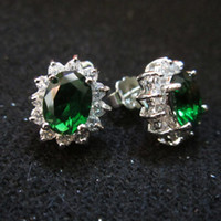 Wholesale Royal Emerald Jewelry - Fashion Women Jewelry Lady's 18K Gold Plated Green Emerald Gemstone Royal Princess Diana Earrings Stud