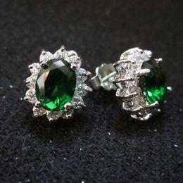 Wholesale Emerald Green Gold Earrings - Fashion Women Jewelry Lady's 18K Gold Plated Green Emerald Gemstone Royal Princess Diana Earrings Stud