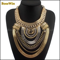 Wholesale Boho Exaggerated Necklace - Fashion Boho Style Exaggerated Multilevel Chain Statement Necklaces Women Evening Dress Jewelry Choker Free Shipping CE1284