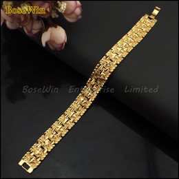 Wholesale Chunky Gold Bracelets Men - Fashion Jewelry 20cmx15mm Surface Cross Carved Vacuum Plated 24K Gold Chunky Exaggerated Bracelet For Men 24KBL006