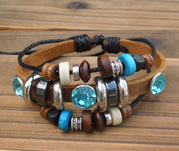 Wholesale Holiday Gift Wrapping - Vintage Punk Leather Bracelets with crystal Hand Chain Wrap charm bracelet Jewelry NEW 20pcs lot 2 colors mix hy48