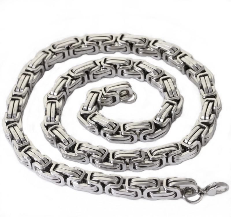 9.6mm Stor tung Silver Byzantinskedja Halsband Armband 316L Stainless Steel Smycken Set för Mäns Xmas Smycken