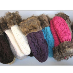 Hot Sale Women's Winter Mitten Kintted Gloves Thick Warm Cute Gloves Fur Wool Gloves 10 Colors for choosing Make By Hand High Quality on Sale