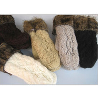 Wholesale Wholesale Wool Gloves For Women - Hot Sale Women's Winter Mitten Kintted Gloves Thick Warm Cute Gloves Fur Wool Gloves 10 Colors for choosing Make By Hand High Quality