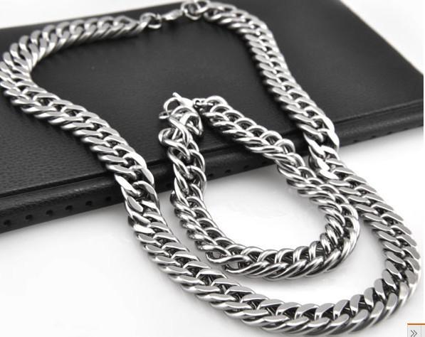 Große 10mm Doppelgliederketten-Halskettenarmband 316L Edelstahlschmucksachen stellten für den gesetzten Schmuck der kühlen Männer ein