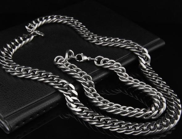 Gran pulsera de collar de cadena de doble enlace de 10 mm, conjunto de joyas de acero inoxidable 316L para joyería de hombre fresco