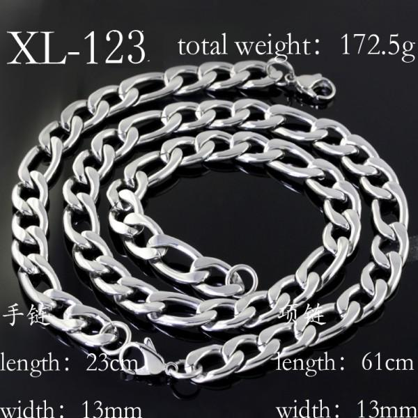 13mm High polished figaro chain necklace & bracelet 316L Stainless Steel jewelry set for Men's gift