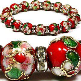 SBR139 Classic Cloisonne Bracelet 10mm Cloisonne Beads Fresh Colors Mix Clear Crystal Wheel Mix Order Free Shipping