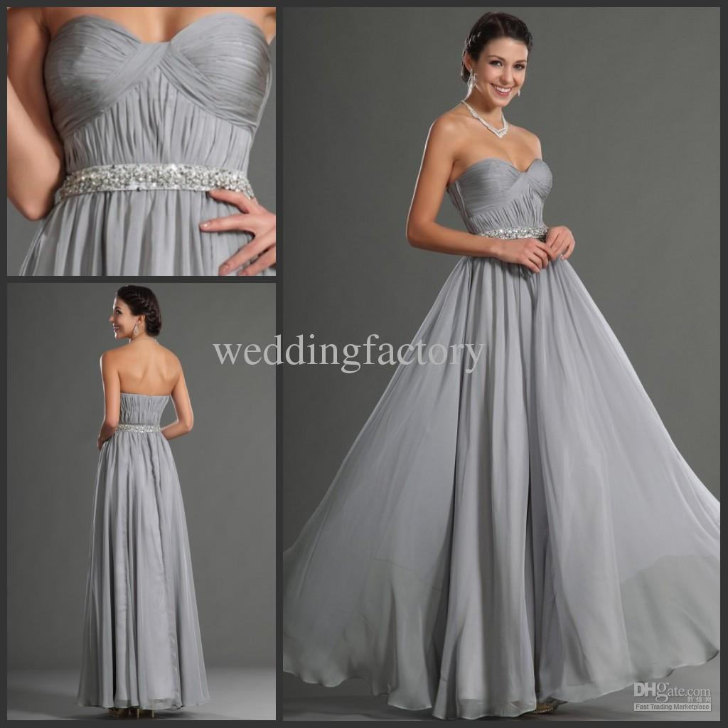 Silver gray bridesmaid dresses long prom dress with beading sash see larger image ombrellifo Image collections