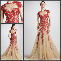 Wholesale Elie Saab Light Blue Dress - 2013 Elie Saab Dress Nude Tulle Red Lace Hollow Back Prom Gown